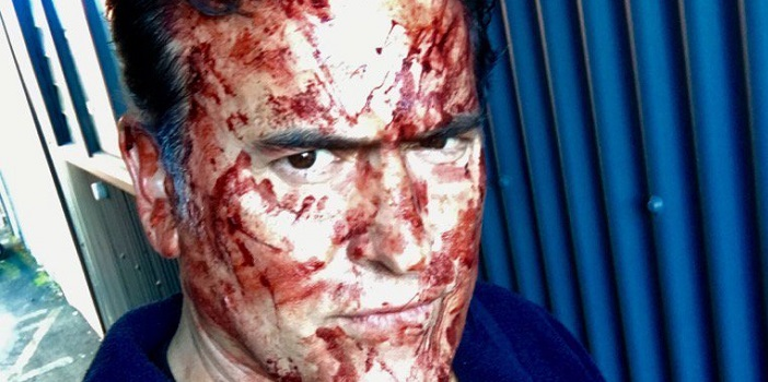 "Bruce Campbell Survives a Massacre on the Set of ""Ash vs Evil Dead"""