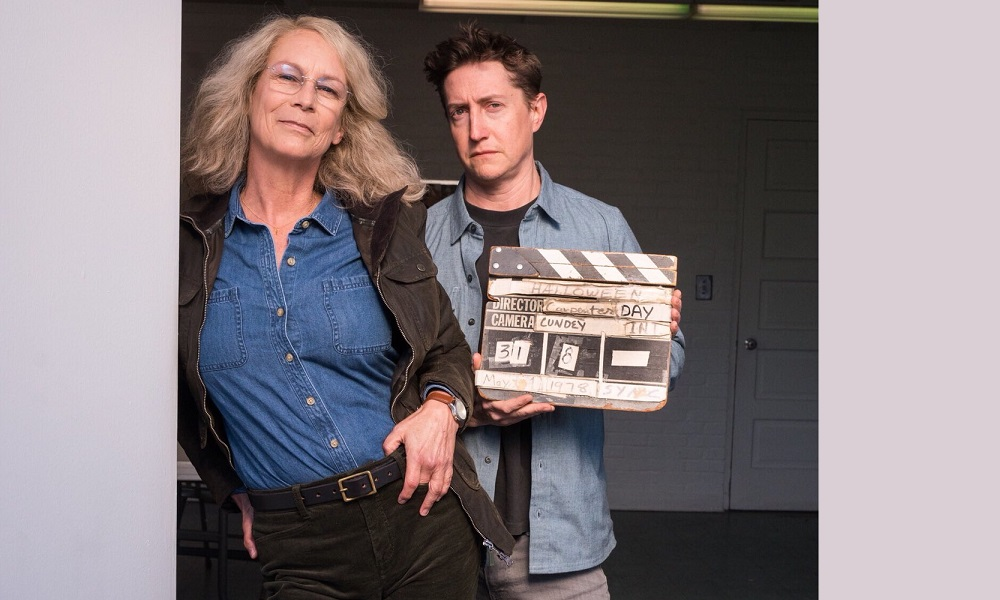Jamie Lee Curtis on Set as Laurie Strode