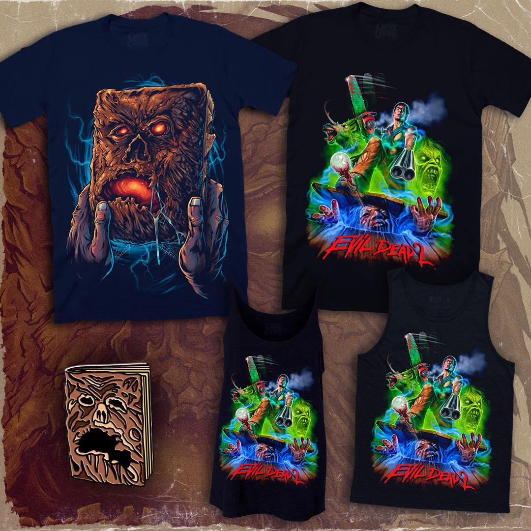 "Evil Dead 2 ""Hero Ash"" and Necronomicon Shirts Full Size"
