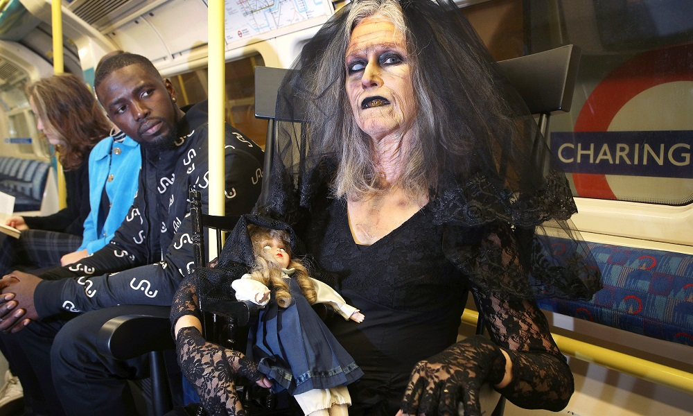 Creepy Lady Spooks Commuters in London to Promote Fanta's Twisted Carnival Halloween Attraction
