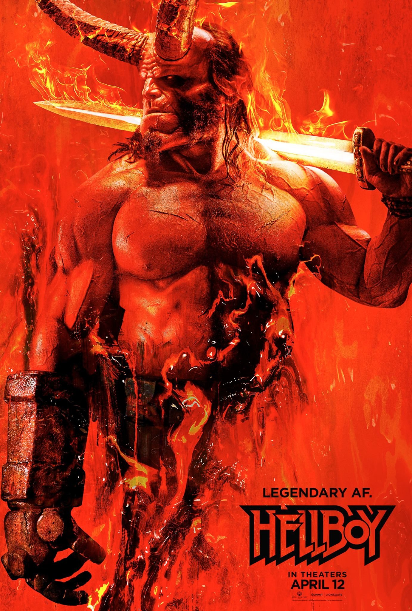 Hellboy Poster Sword on Fire