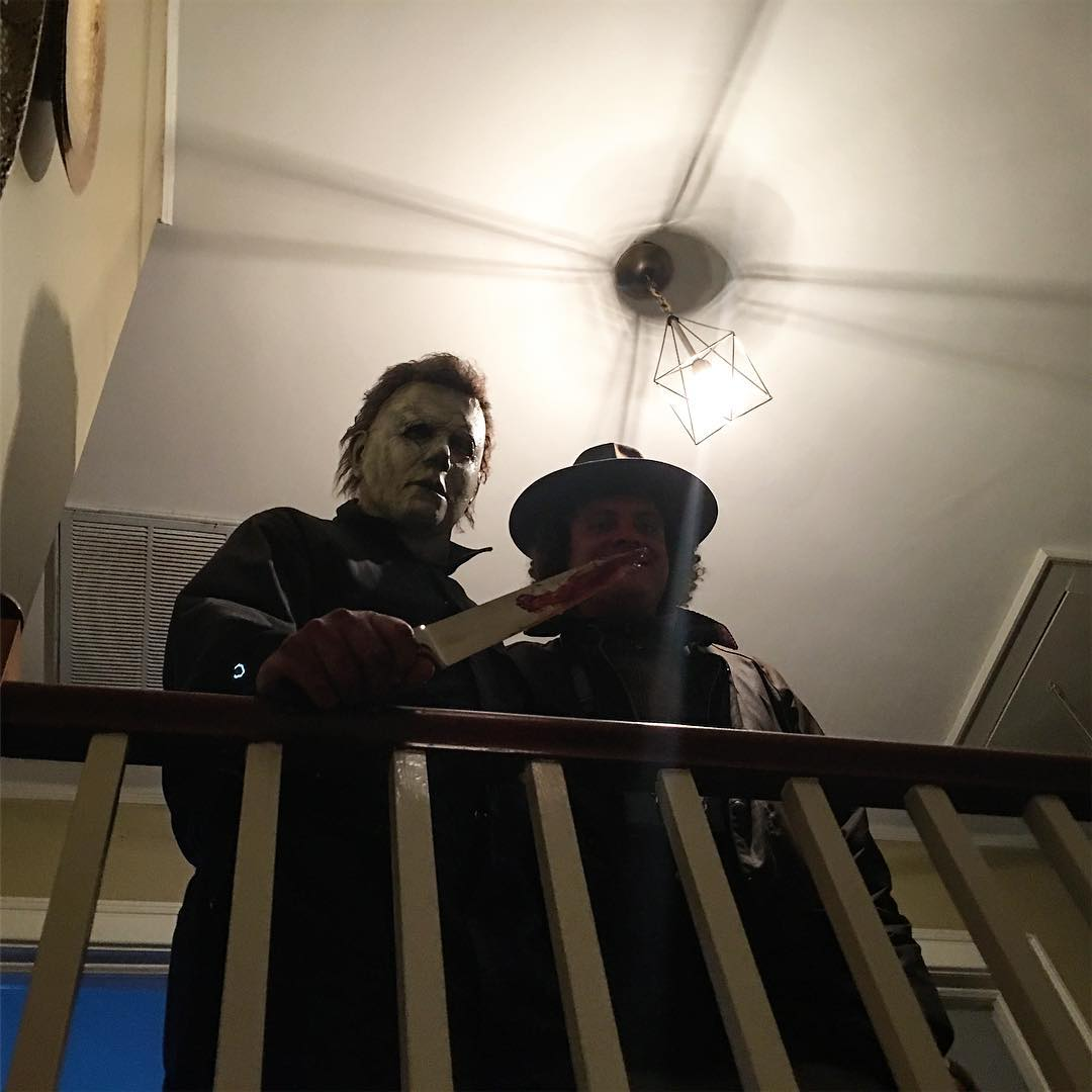 Nick Castle behind-the-scenes of Green's 2018 'Halloween' Movie