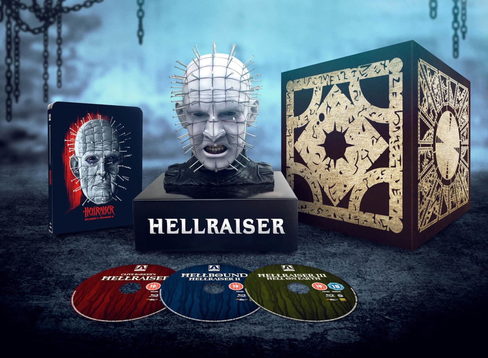Hellraiser Limited Edition Steelbook Blu-Ray and Pinhead Bust