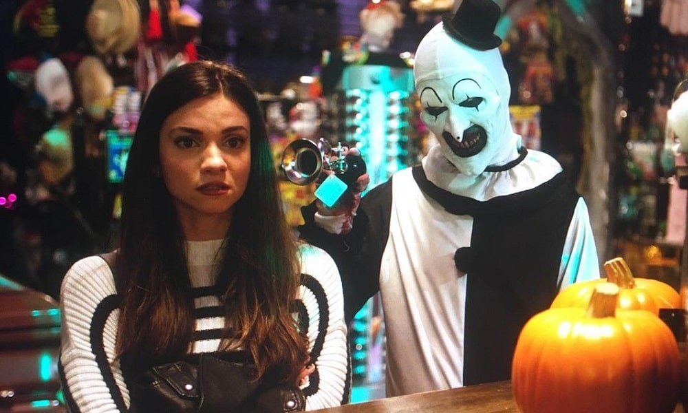 Art the Clown Hoots His Horn at Sienna in New 'Terrifier 2' Image