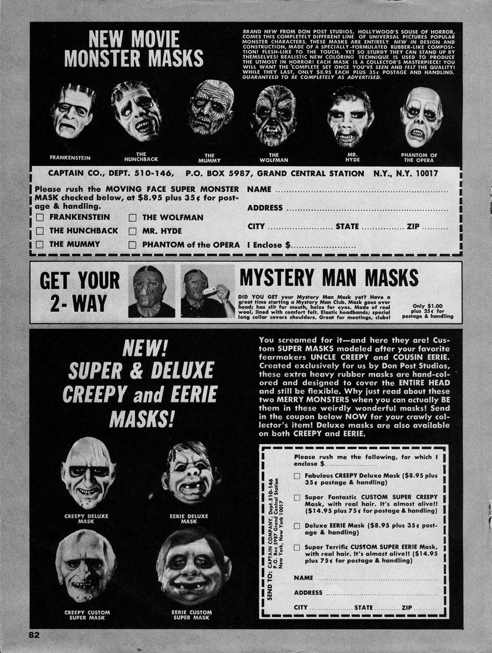 Famous Monsters Ad Don Post Masks